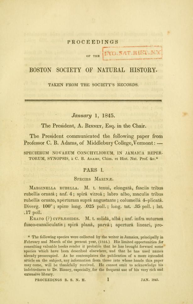 Specierum Novarum Conchyliorum, in Jamaica Repertorum, Synopsis.  Pars I.  Species Marinae